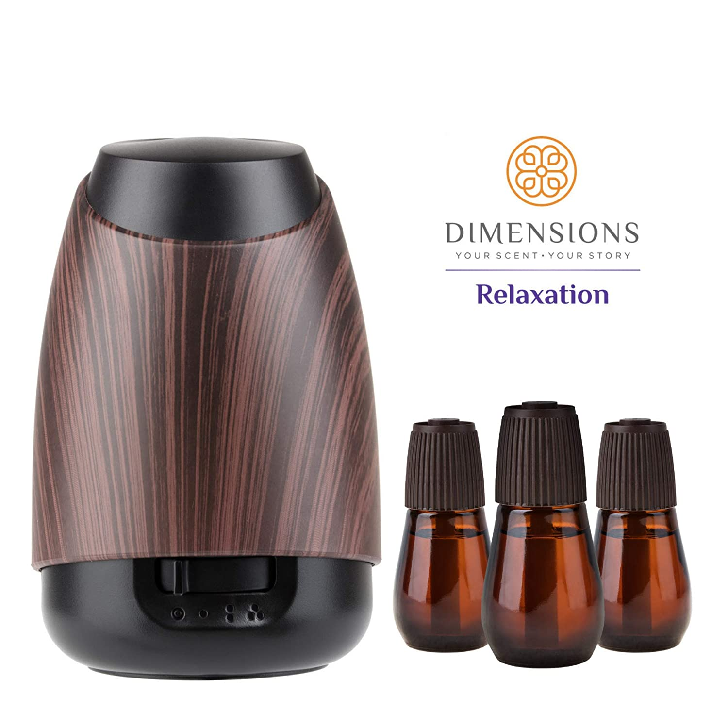 Dimensions Relaxation Collection - 3 Pre-blended Fragrance Refills and Fragrance Diffuser for up to 4 Months of Brilliant Fragrance for Home & Office