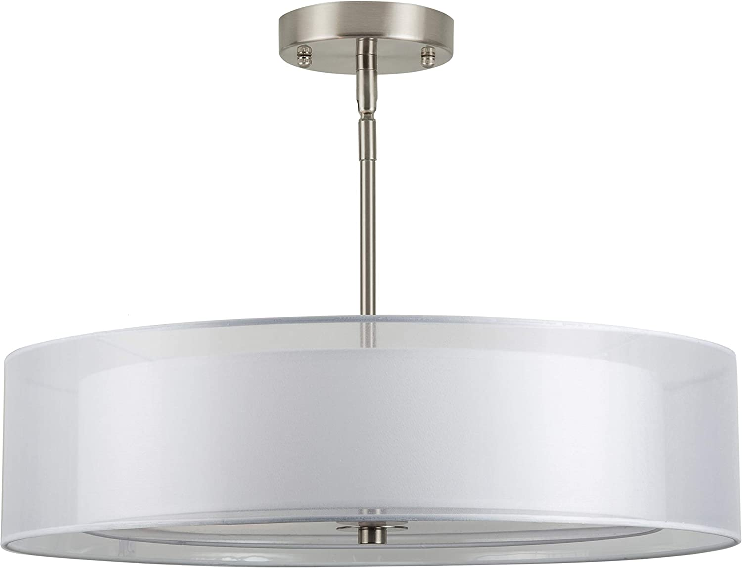 Grazia 20 inch 3 Light Drum Chandelier Ceiling Light – Brushed Nickel – Linea di Liara LL-P117-BN