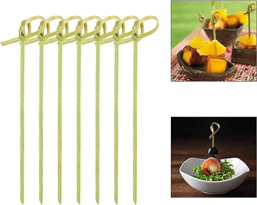 ZERHOK Decoración Madera cóctel 300pcs pincho bambú Palo Cocktail de Madera Natural sin Tinte y Diseno de Nudo en Punto para adornar cóctel y Insertar ...