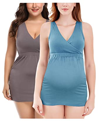 bde564811e807 Intimate Portal Bump Parade Maternity Nursing Tank Top Breastfeeding Cami  Sleep Bra with Pads 2-