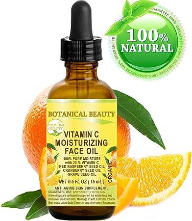 VITAMIN C Moisturizing Face Oil ORGANIC. 100% PURE MOISTURE with 20 % Vitamin +