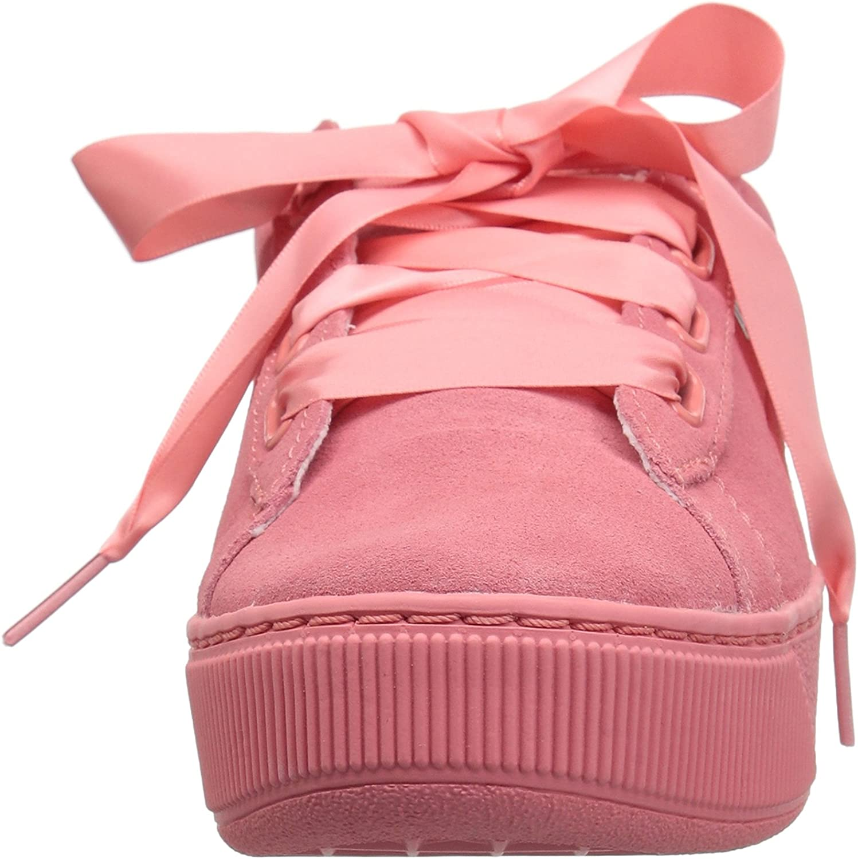 PUMA Vikky Platform Ribbon S Leather Sneaker Women Kids Trainers 366418 01 Black