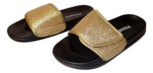08a19f3a7f30 Princess Little Girl's Adjustable Glitter Slide Sandals (Little Kids 3,  Gold)