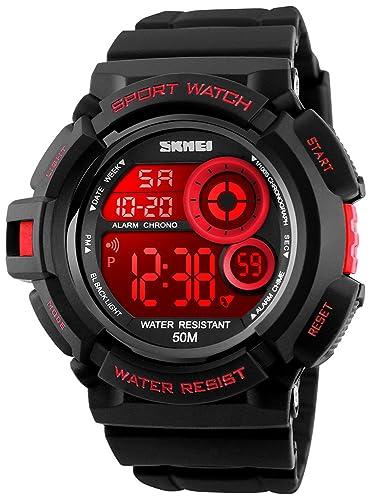 Fanmis - Reloj digital de cuarzo multifunción con LED, resistente al agua, militar, color rojo: Amazon.es: Relojes