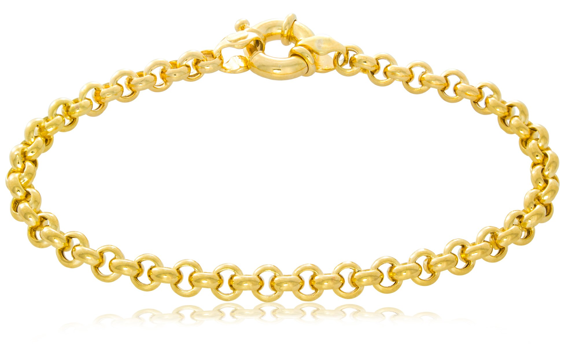14K Rolo Chain Bracelet Made in Italy with Fancy Clasp| Hollow 5.4mm | Length 7'' | 7.7g