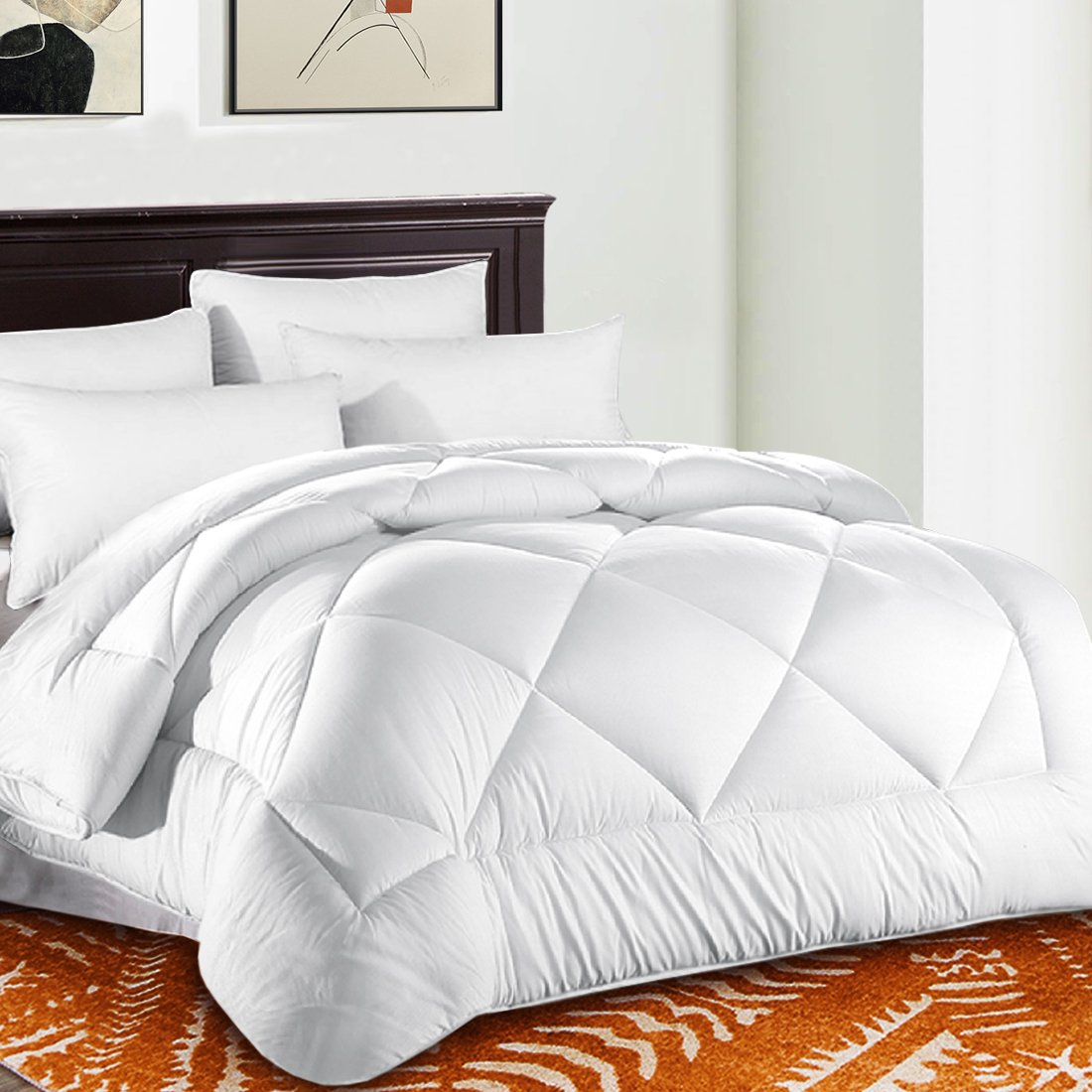 Queen Comforter Soft Quilted ♥ Down Alternative Duvet Insert with Corner Tabs Summer Cooling 2100 Series, Fluffy Reversible Hotel Collection, Hypoallergenic for All Season, Snow White, 88 x 88 inches by TEKAMON