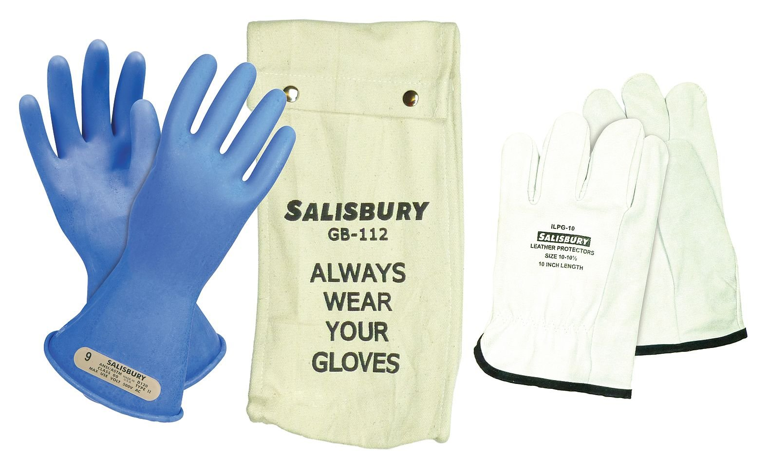 Salisbury Blue Electrical Glove Kit, Rubber, 00 Class, Size 11 11 Blue Rubber GK0011BL/11 - 1 Each