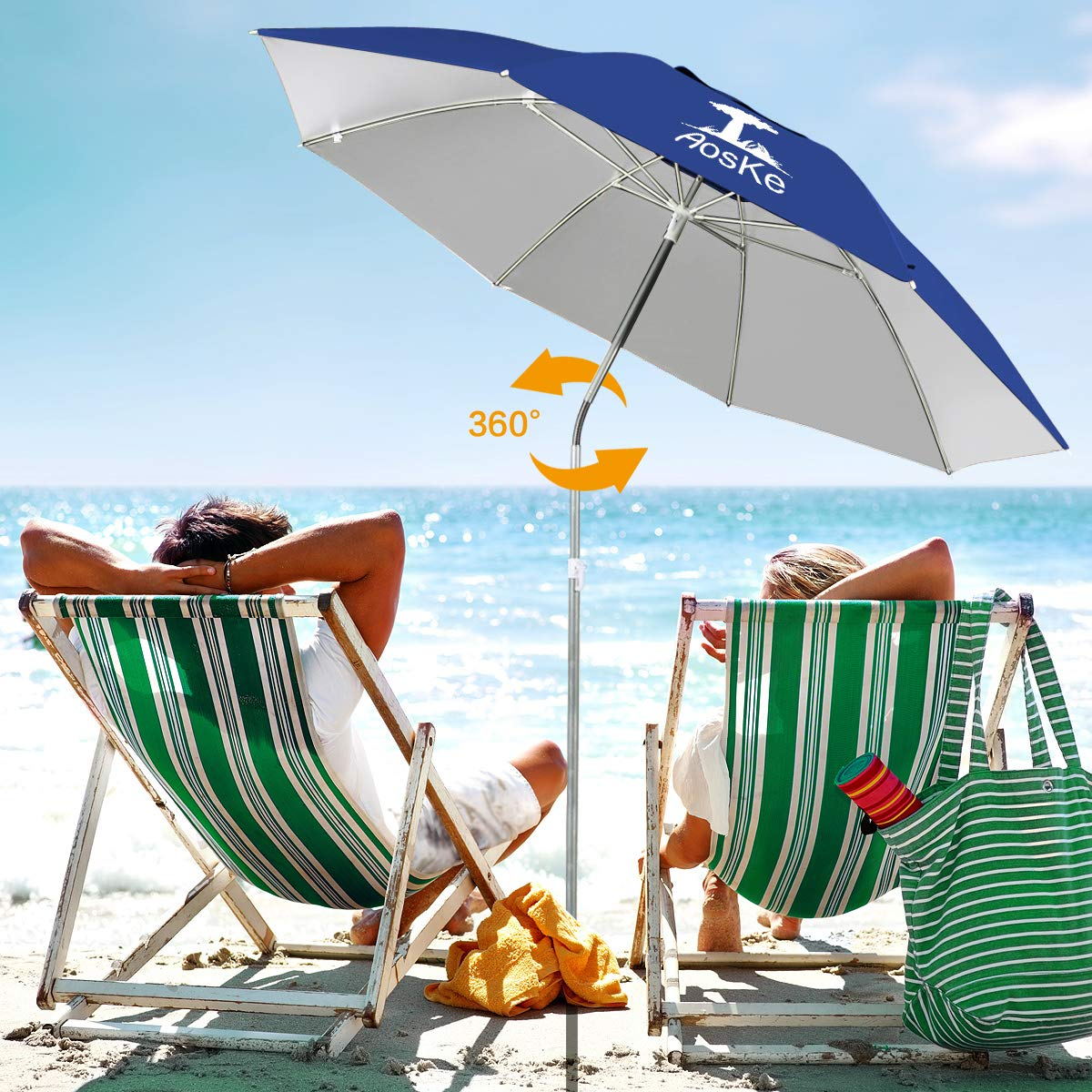 AosKe Patio Umbrella Beach Umbrella Sports Umbrella Portable Sun Shade Umbrella Inclined Heat Insulation Antiultraviolet SPF 50+