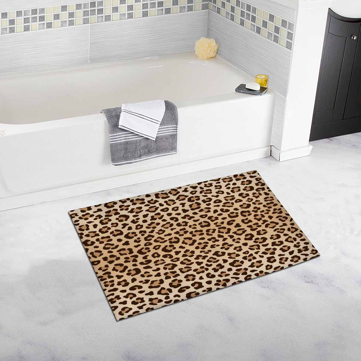 InterestPrint Leopard Animal Print Non Slip Bathroom Mat Bath Rug, 20 W X 32 L Inches
