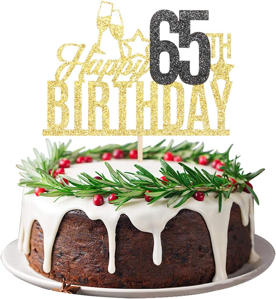 65 and fabulous Birthday Cake toppers Double Side Glitter Adult Party 65th Birthday Party Decorations 65th Cake Topper 65th birthday Cake