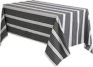 PiccoCasa Tablecloths for Rectangle Tables 60 x 104 Inches - 100% Cotton Wrinkle Resistant Stripe Table Cloth, Dining Table Cover Protector for Party Kitchen Table Decoration