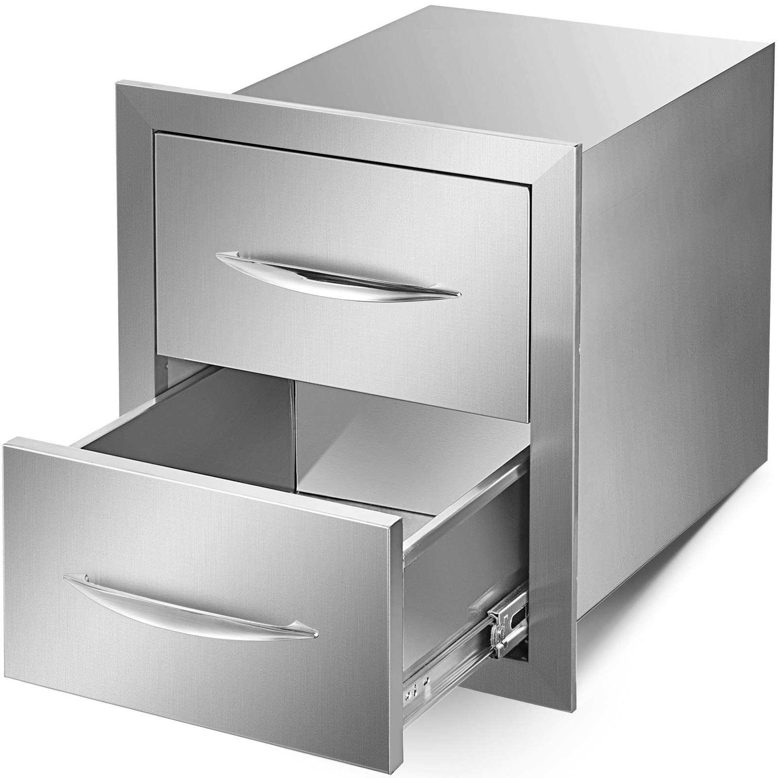 Mophorn 14''x16'' Outdoor Kitchen Drawer Stainless Steel Double Access Drawer BBQ Storage with Chrome Handle Flush Mount Sliver