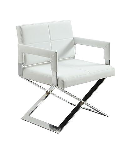 Milan Daphne Oversized U0026quot;Xu0026quot; Base Arm Chair, White