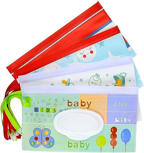 Meetory - 4 bolsas reutilizables para bebé, toallitas húmedas ...