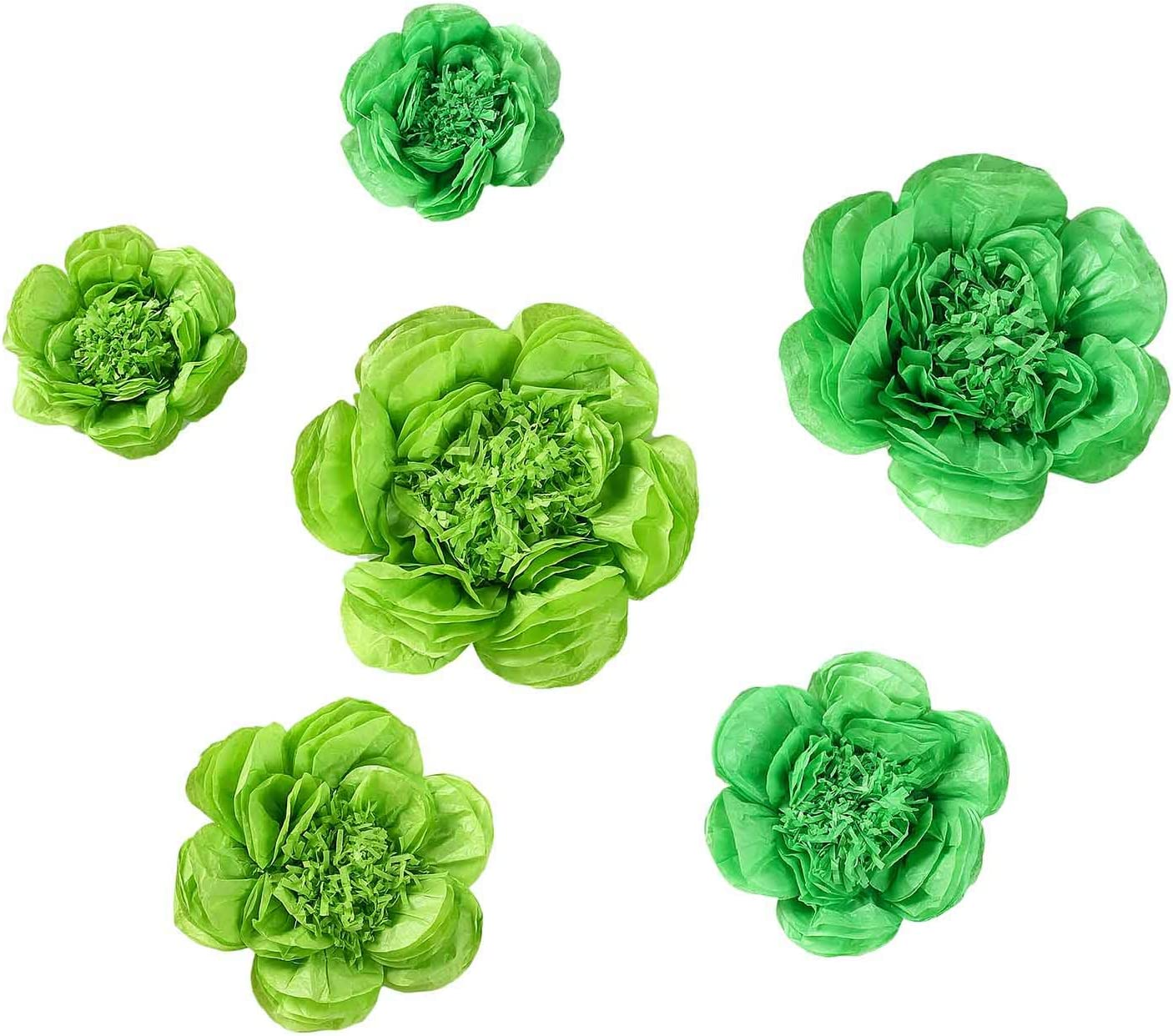 BalsaCircle 6 pcs 7 9 11-Inch Mint and Apple Green Paper Peony Tissue Flowers - Wall Backdrop Party Wedding Decorations Supplies