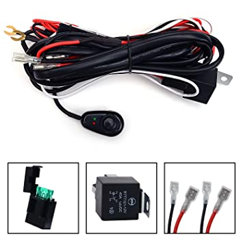 71FQlLFJjNL._SY355_ amazon com kawell universal 2 lead led light bar wiring harness  at fashall.co