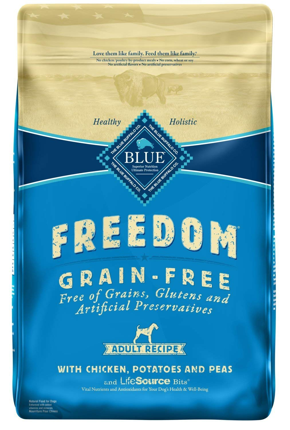 Blue Buffalo Freedom Grain Free Natural Adult Dry Dog Food, Chicken 24-lb