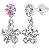 Boucles d'oreilles pendantes à fermoir à vis en argent sterling 925en forme de fleurs avec oxyde de zirconium rose en forme de larme