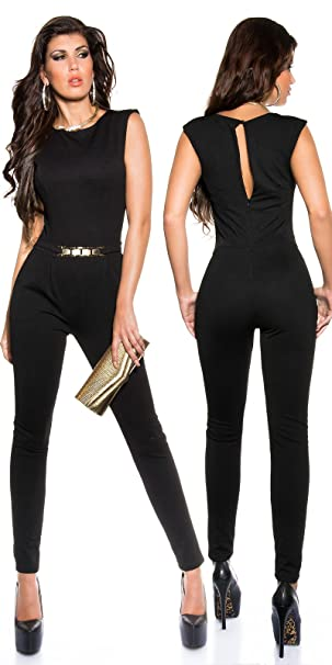 Piccole follie Pantaloni tuta intera donna elegante con fibbia dorata  aderente Sexy (L 69d9bfe75b3