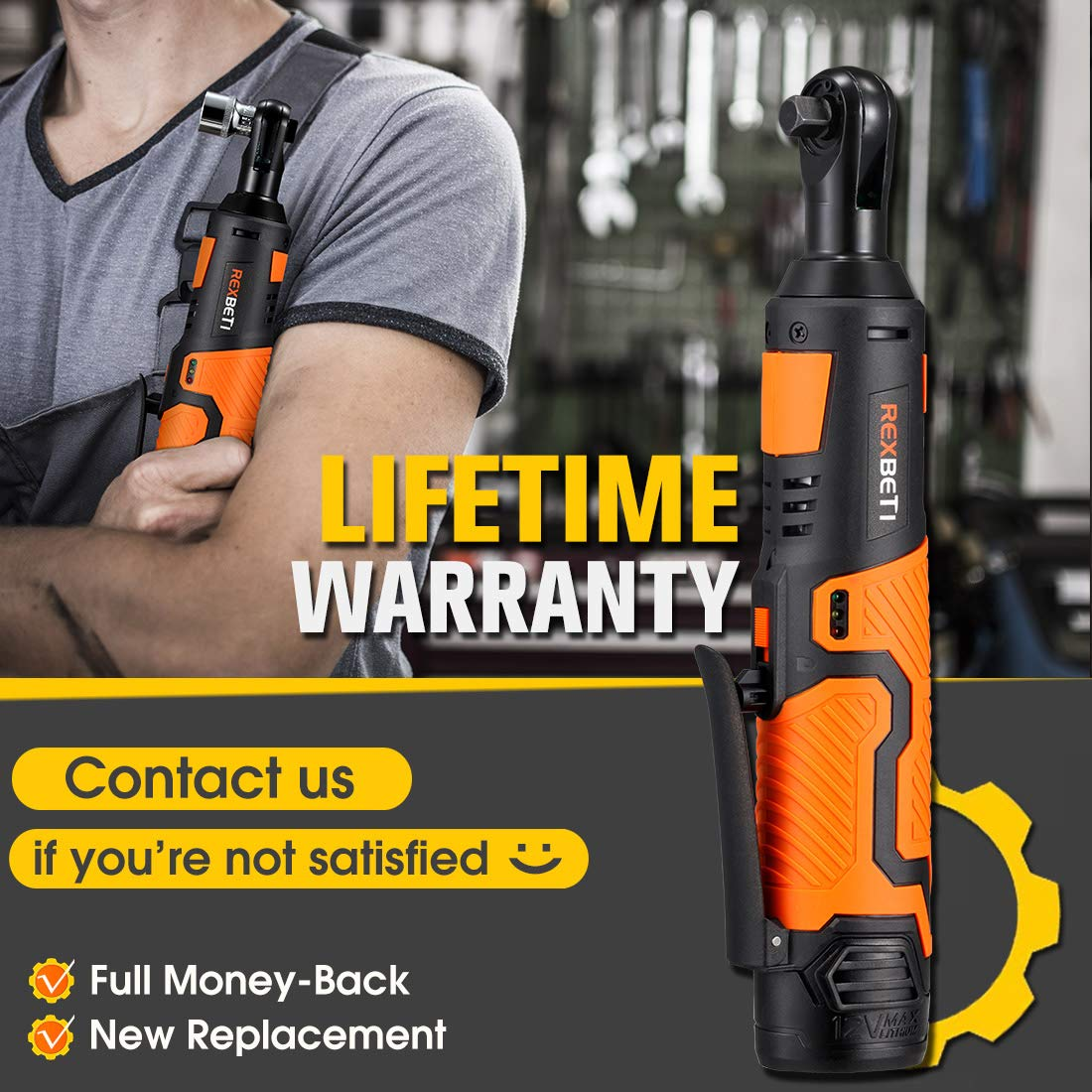 REXBETI Cordless 3/8'' Electric Ratchet Wrench Set with 12V Lithium-Ion Battery and Charger Kit, Include 7-piece 3/8'' Metric Sockets and 1-piece 1/4'' Socket Adapter, 45Nm of Maximum Torque by REXBETI (Image #2)