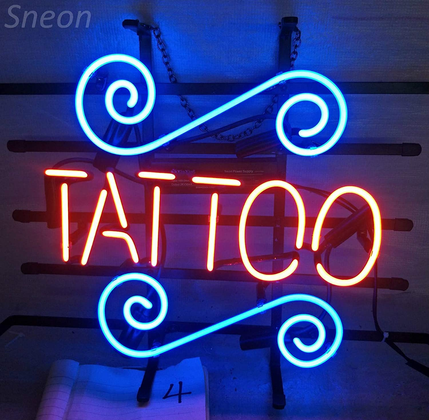 LinC Neon Sign Tattoo Home Decor Light For Bedroom Garage Beer Bar And Nightclub Real Glass Wall Art