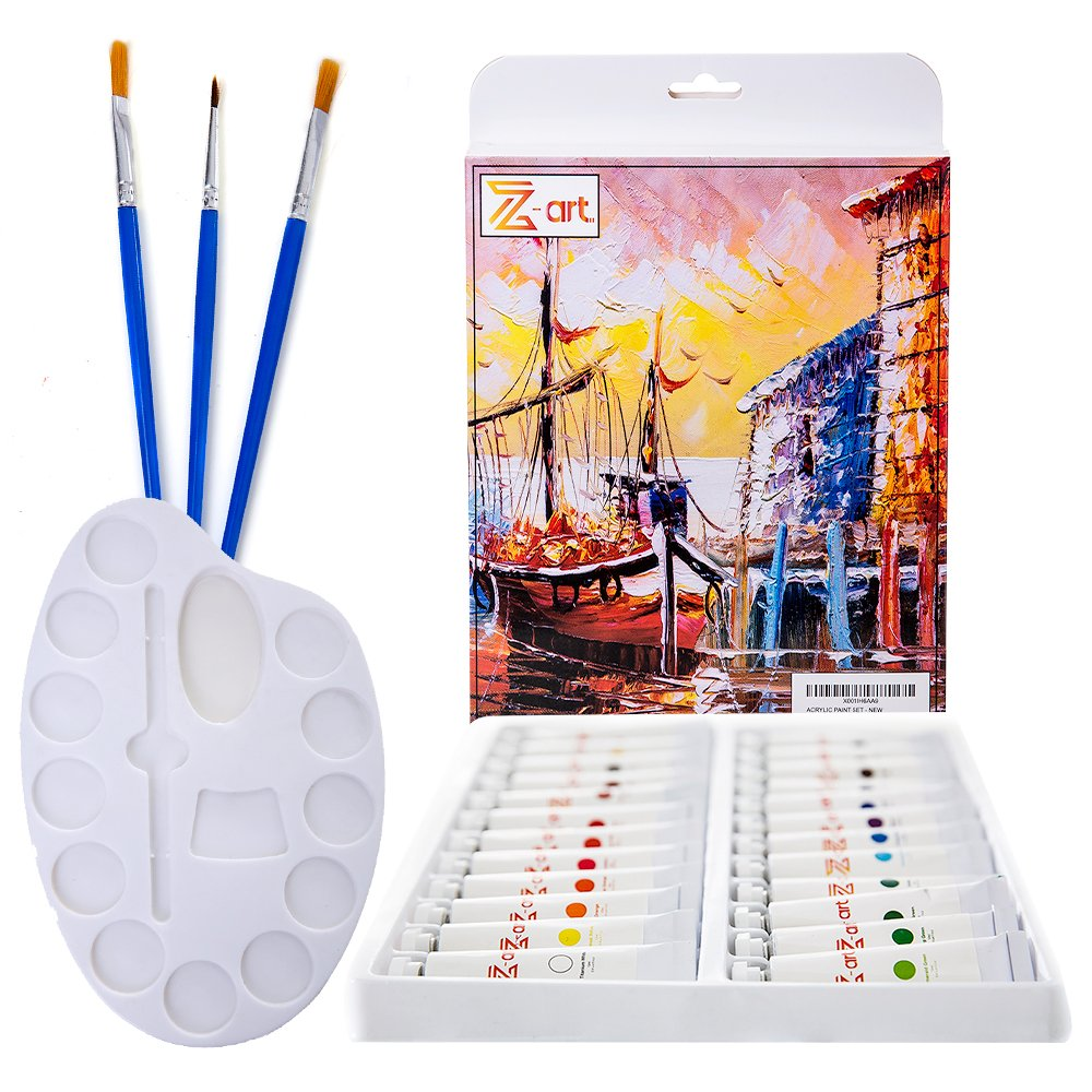 Acrylic paint set 24 vibrant non toxic colors - Suited for Beginners & Professional Artist - Great for canvas, wood, ceramic, stones & crafts by Z-Art