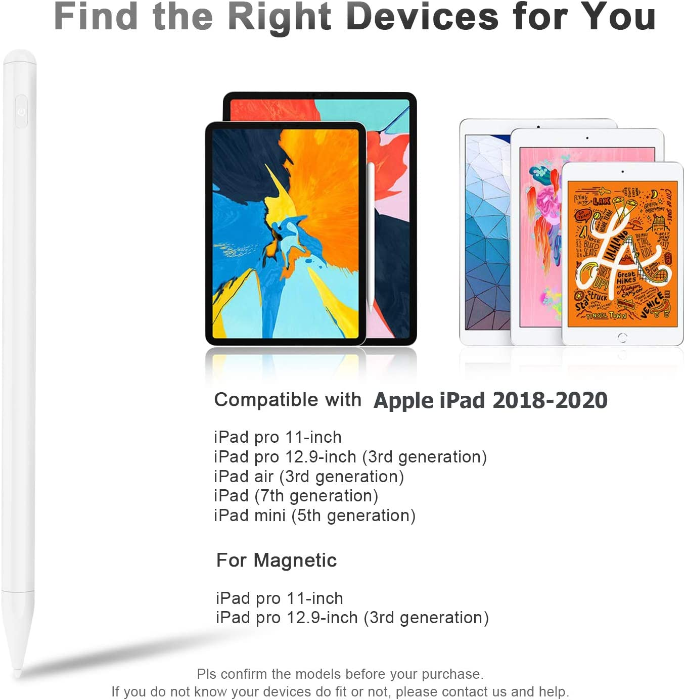 Compatible with iPad Palm Rejection Active Stylus Pen for iPad 7th Gen 2pcs High Precision/&Sensitivity Fine Tip Ecomono Magnetic Digital Drawing Pencil for iPad Pro //Pro 11//12.9//Air 3//Mini 5th