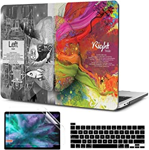 TwoL Hard Plastic Case Silicone Keyboard Skin and Screen Protector for New MacBook Pro 16 inch A2141 Release 2019 2020 with Touch Bar & Touch ID Creative Brain