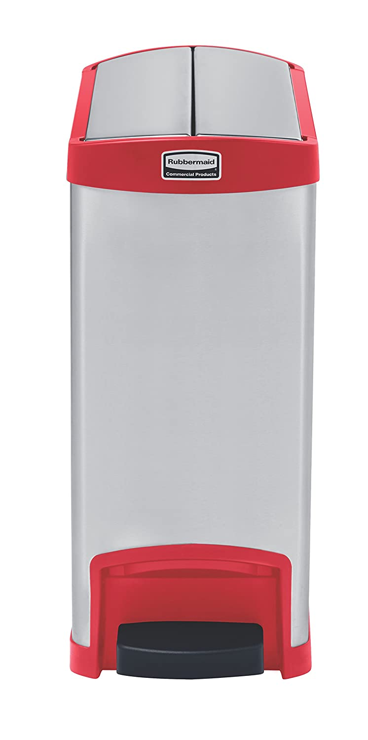 Rubbermaid Slim Jim 1901989 - Contenedor con pedal lateral, metal, capacidad de 30 l, rojo: Amazon.es: Industria, empresas y ciencia