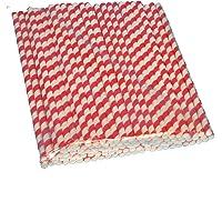 100 Bio Strohhalme Papiertrinkhalme Shakehalme Papier Jumbo extra dick Ø8mm 24cm lang rot weiß gestreift