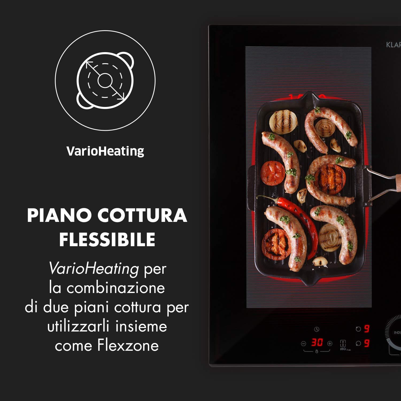 KLARSTEIN Delicatessa 60 /• Piano Cottura da Incasso /• Piastra a Induzione /• Incasso /• 4 zone /• 7000 W /• Controllo Touch /• Flex Zone /• Rilevamento Pentole /• Timer Spegnimento /• Vetroceramica /• Nero