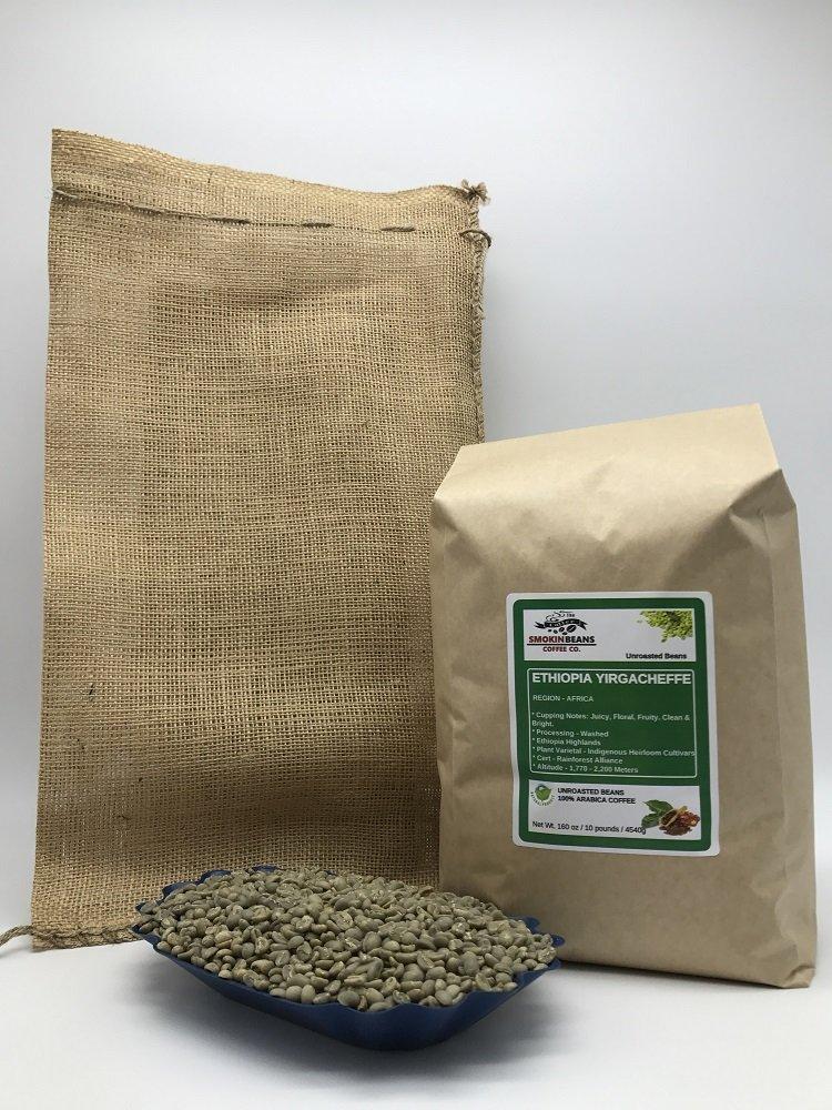 10 LBS - ETHIOPIA YIRGACHEFFE (in FREE BURLAP BAG) FRESH NEW-CROP Specialty-Grade Green Unroasted Coffee Beans- AFRICA - Varietal: Ethiopian Heirloom - Considered Finest of Ethiopian Coffees
