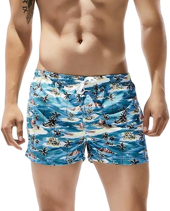 a0bdbafc3a8 Men's Swim Trunks Beach Shorts Breathable Fashion Casual Coconut Tree Print  Beach Surfing Swimming Beach Pants Blue | Amazon.com