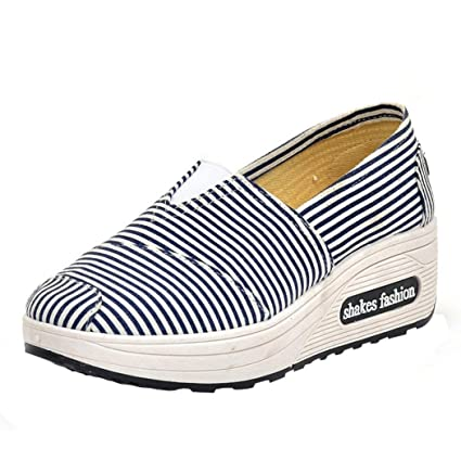 c6b9c0b5d2e3 Fashion Women Stripe Platform Canvas Shoes Women Loafers Breathable Sports  Shoes Swing Wedges Walking Shoes (