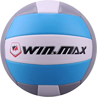 Ballon de Beach Volley, Ballon de Volley, Volley-Ball, Soft Touch pour Adultes et Enfants Volley-Ball (Bleu/Gris) Molee