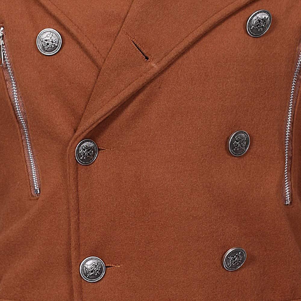 Shuwe Mens Autumn Winter Warm Jacket Overcoat Zipper Slim Long Trench Buttons Coats