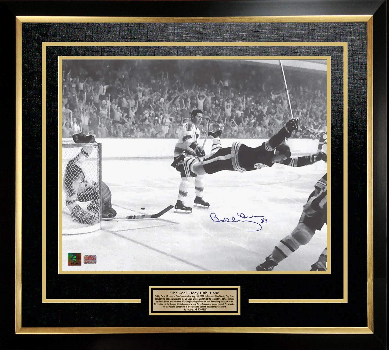 Boston Bruins Bobby Orr Framed 8x10 Photo of The Stanley Cup Game Winning Goal 1970