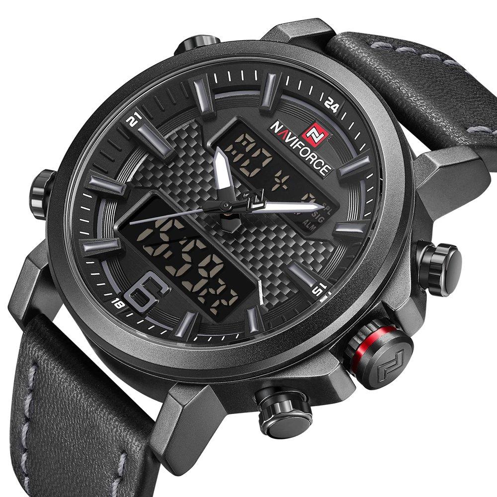 Men Dual Display Watches Analog Digital Casual Sport Luxury Chronograph Waterproof Wristwatch by NAVIFORCE