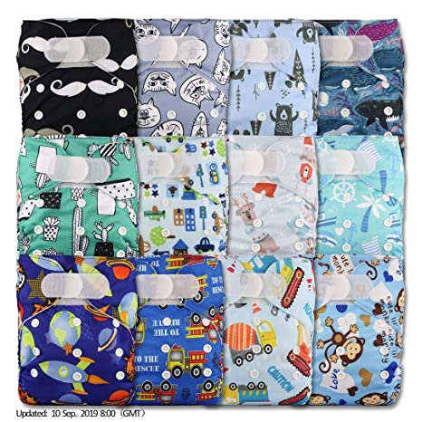 Reusable Pocket Cloth Nappy with 24 Microfibre Inserts Fastener: Popper Patterns 1205 Set of 12 Littles /& Bloomz