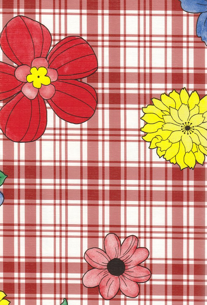 Amazon.com: Plaid Flower Flannel Backed Vinyl Tablecloth, Black, 52x52  Square: Home U0026 Kitchen
