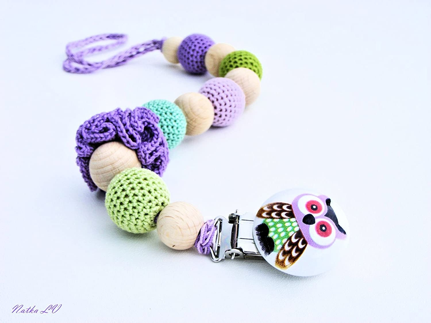 Owl pacifier clip, dummy chain, crochet pacifier holder, green purple crochet beads, natural teething toy, toy holder, natural, gift for baby, shower gift
