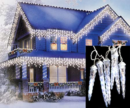 Dripping Christmas Lights.Northlight Set Of 6 Led Polar White Dripping Icicle Shape