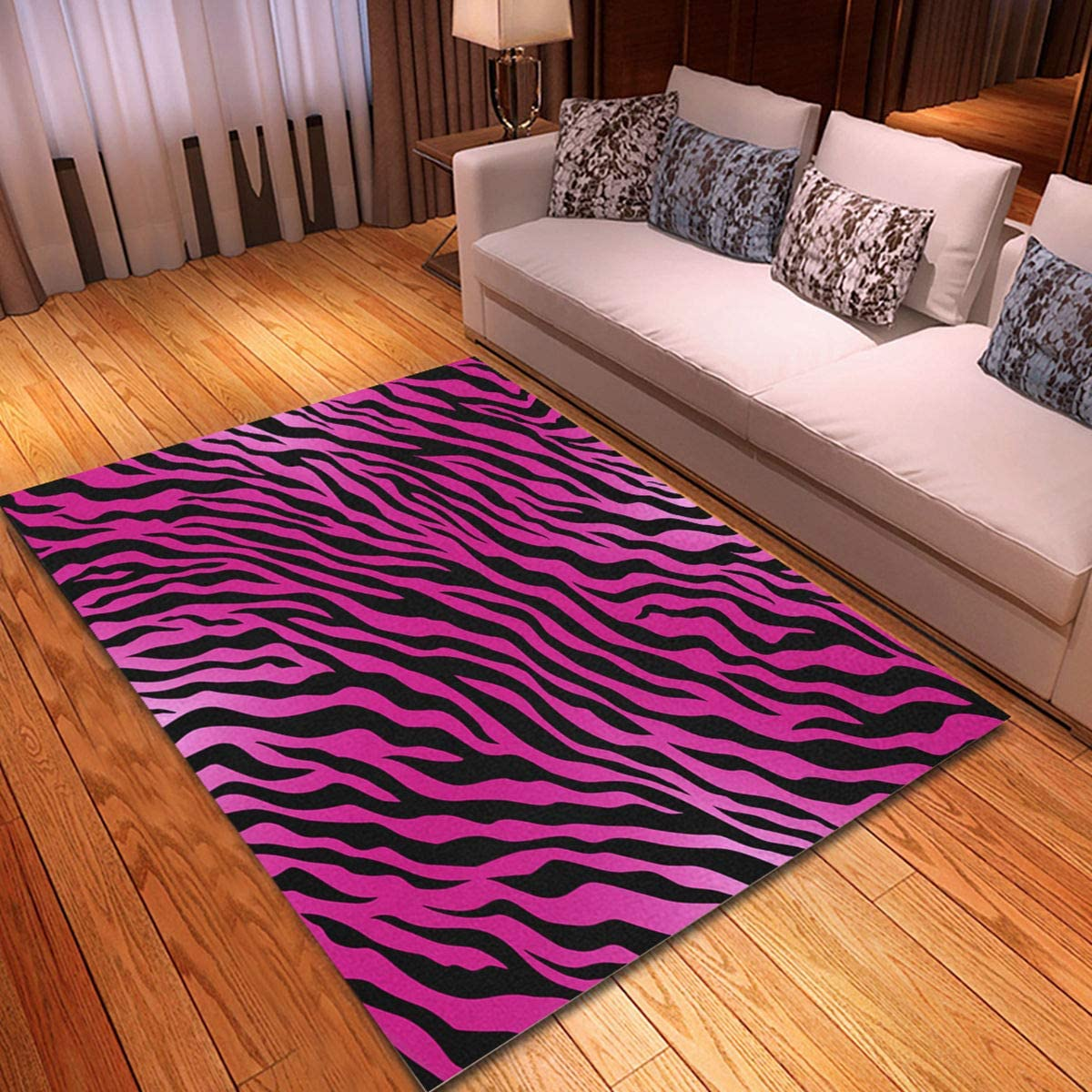 rouihot Non-Slip Area Rug 2'x 3' Orange Tiger Pink Animal Skin Zebra Pattern Black Wild Rugs Carpet for Classroom Living Room Bedroom Dining Kindergarten Room