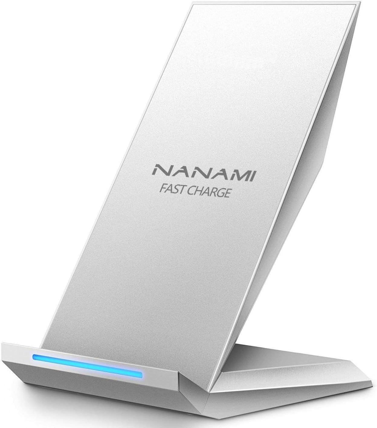 NANAMI Cargador Inalámbrico Rápido,Qi Inalámbrica Carga Rápida 10W y Estándar 7.5W para iPhone 11/11 Pro/XS/XS MAX/XR/X/8 Plus/8,Wireless Quick Charger para Samsung Galaxy S20 S10 S9 S8 S8 Plus Note10