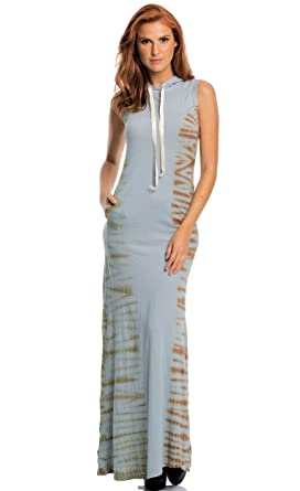 50a04bb3d9c ELAN Woman s Boho Tie Dye Hooded Maxi Dress Sleeveless (Small