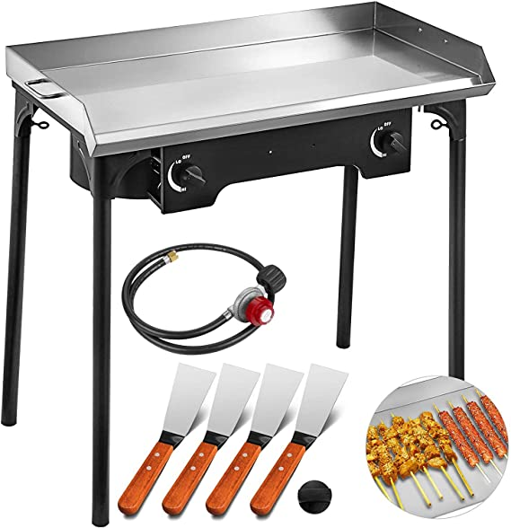 VEVOR Flat Top Griddle Grill & Propane Fueled 2 Burners Stove Stainless Steel with 4 Spatula & Scraper