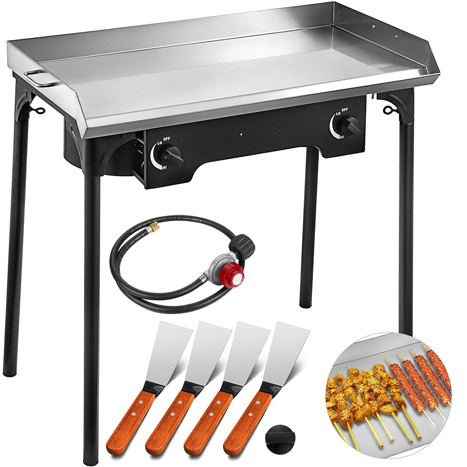 VEVOR Flat Top Griddle Grill & Propane Fueled 2 Burners Stove Stainless Steel with 4 Spatula & Scraper, 32'' x 17'' by VEVOR