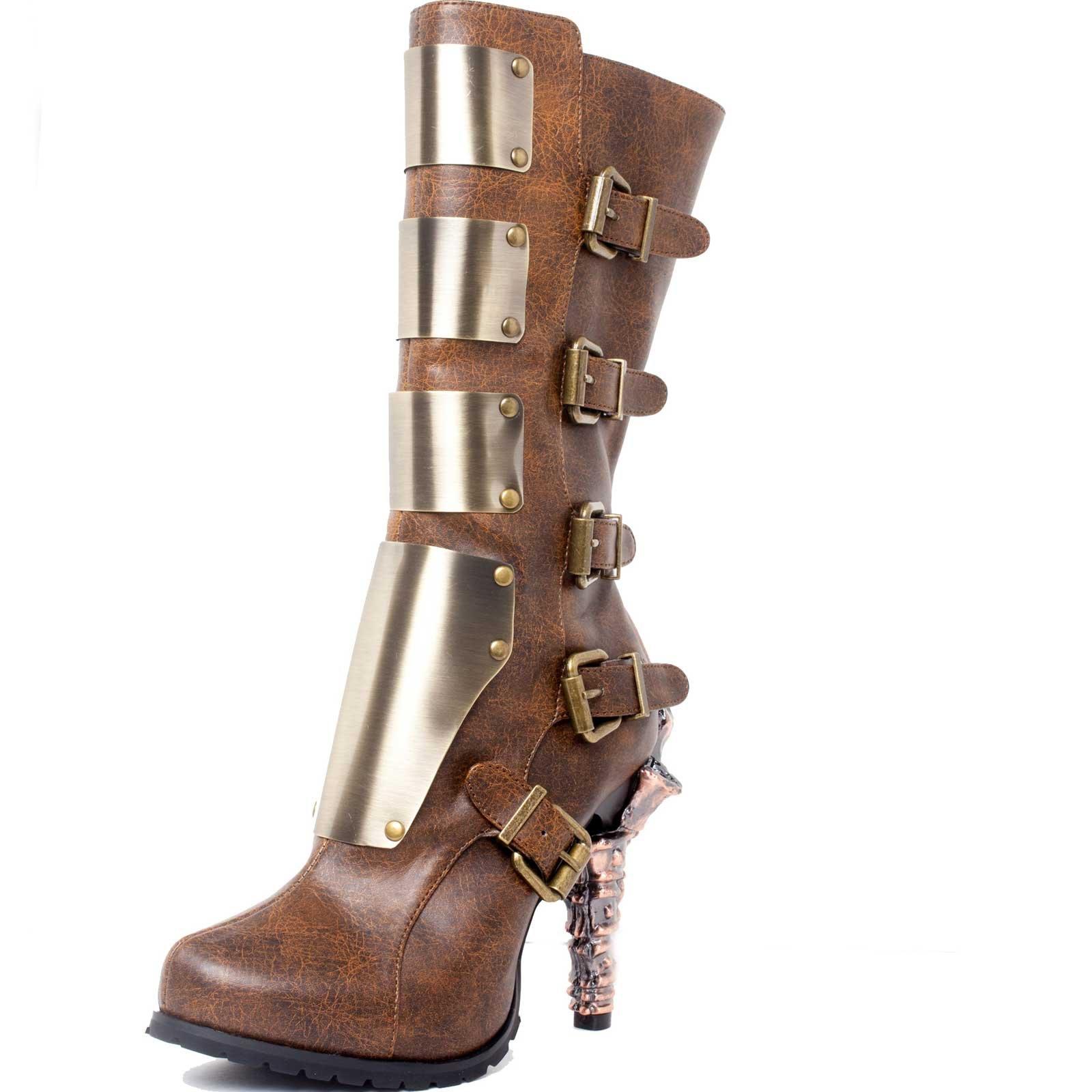 HADES Steampunk Prehistoric Claw Heel Knee High Biker Boot Inner Zip VARGA Brown-8