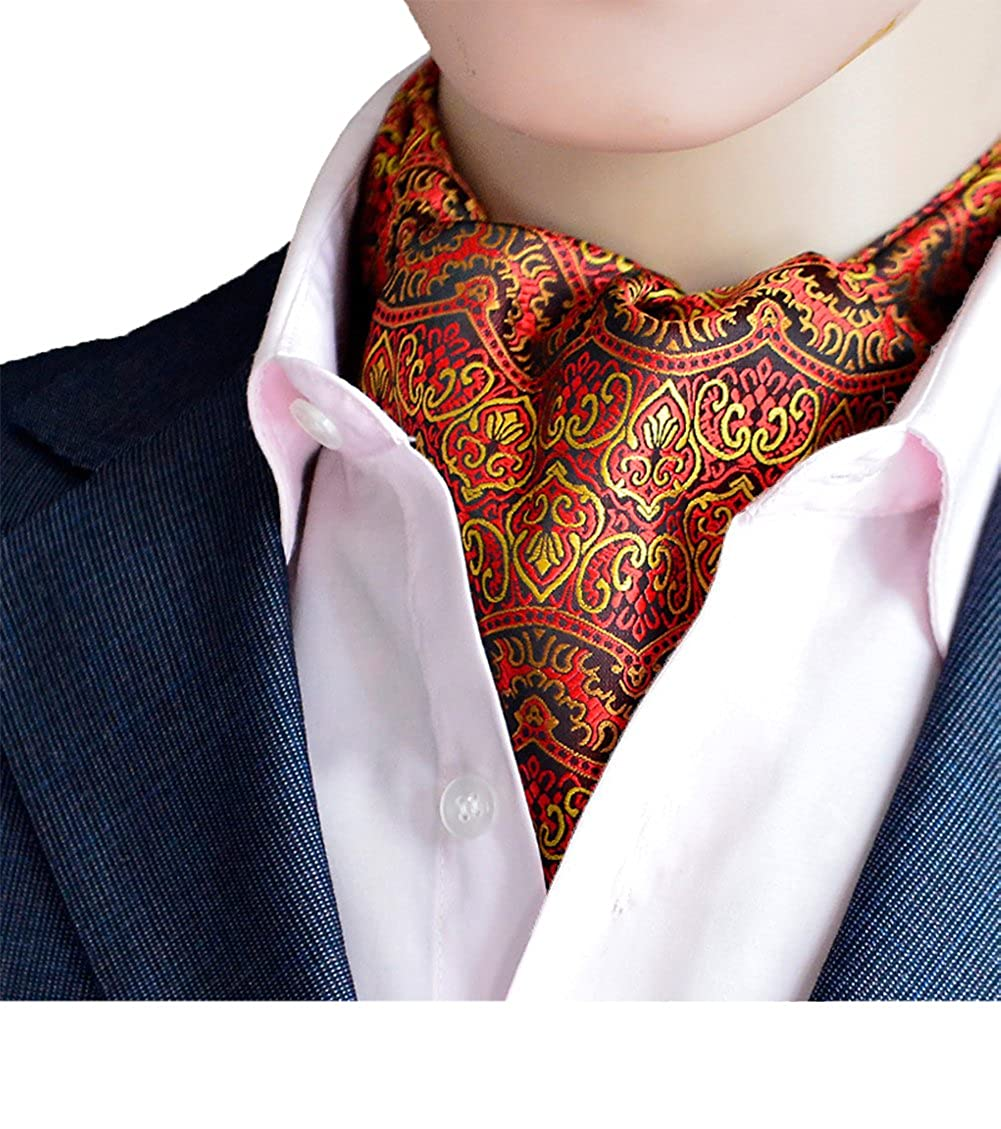 Men's England Style Elegant Silk Scarves Cravat Self Tie Orange Floral Ascot Ties