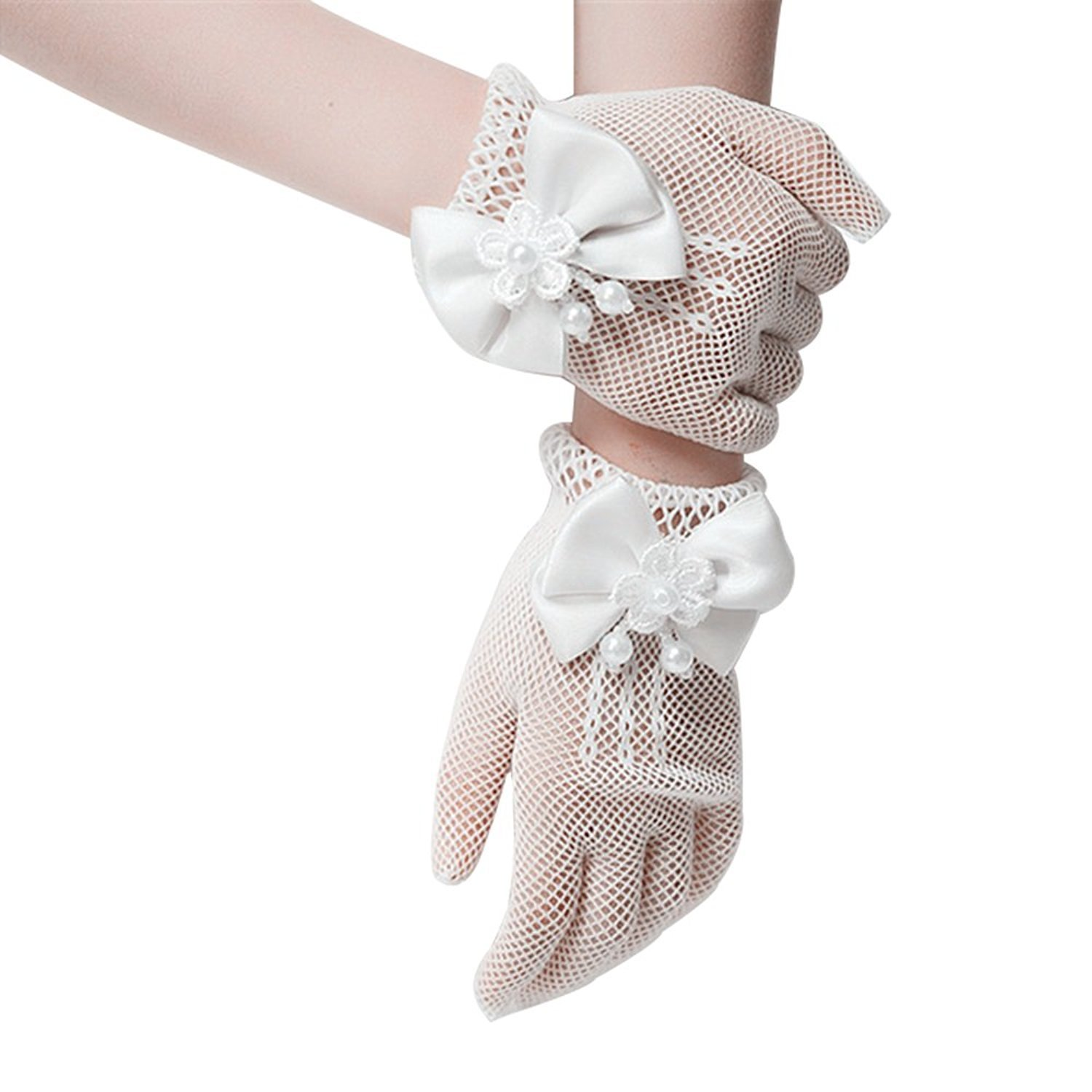 SlenyuBridal Flower Girl Gloves Lace Special Occasion Gloves for Wedding Pageant Party White One Size